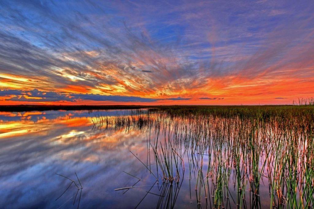 Sonnenuntergang in den Everglades, Florida Sehenswürdigkeiten