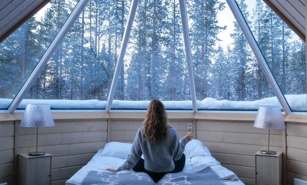 Innenausstattung einer Aurora Cabin, Northern Lights Village, Finnland, Hotels Stargazing