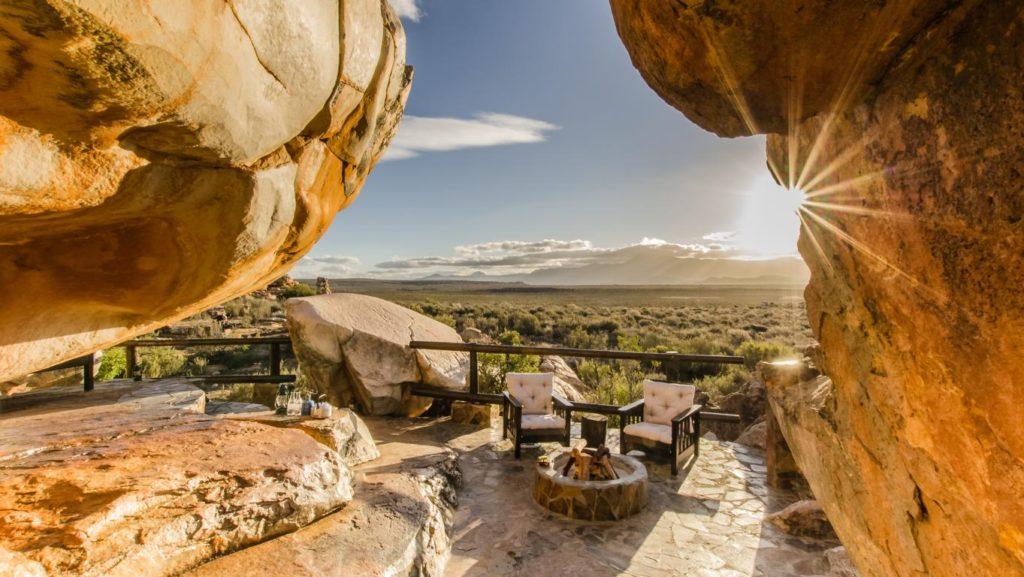 Sitzbereich der Star Suite, Kagga Kamma Nature Reserve, Südafrika, Stargazing Hotels