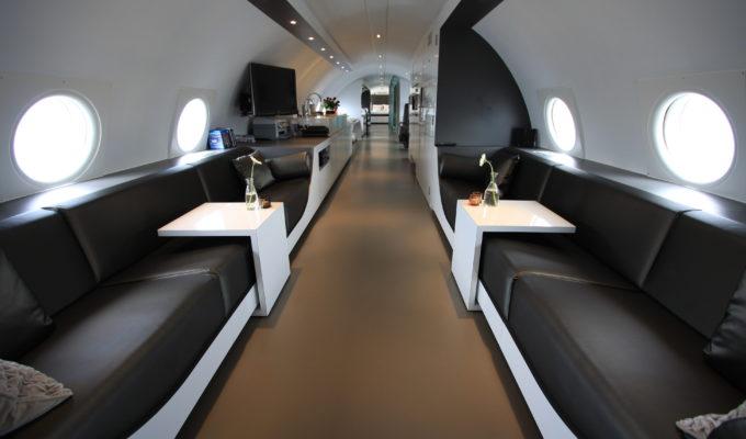 Lounge, Vliegtuigsuite Teuge, Flugzeug Hotels, Niederlande